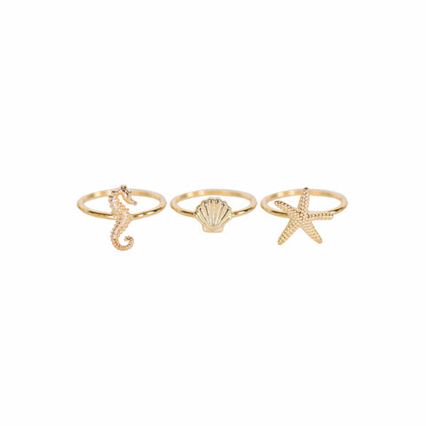Sea Stacking Rings Gold