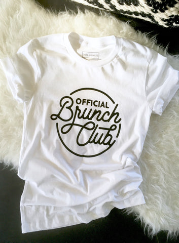 Official Brunch Club T-Shirt--WHITE, BLACK PRINT