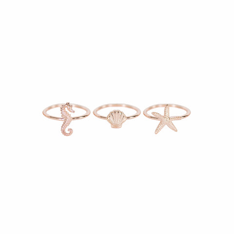 Sea Stacking Rings Rose Gold