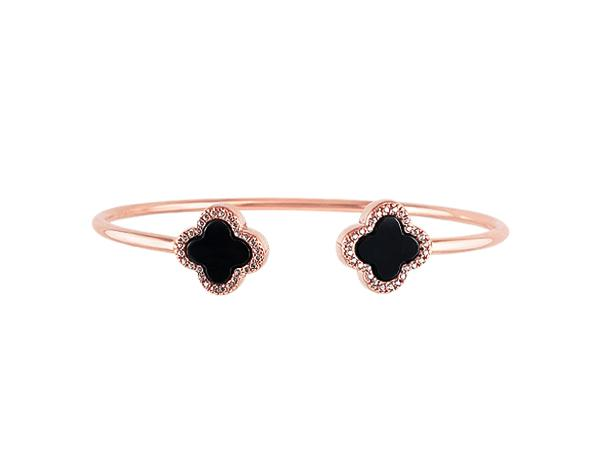 Sterling Silver Black Agate Clover Bangle - Mosaic Jewels
