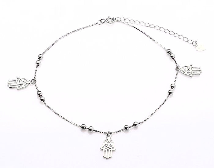 925 Sterling Silver Hamsa Anklet - Rhodium Plated - Mosaic Jewels