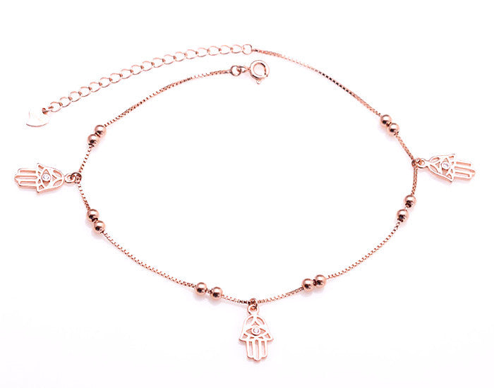 Silver Hamsa Anklet - 14K Rose Gold Plated - Mosaic Jewels
