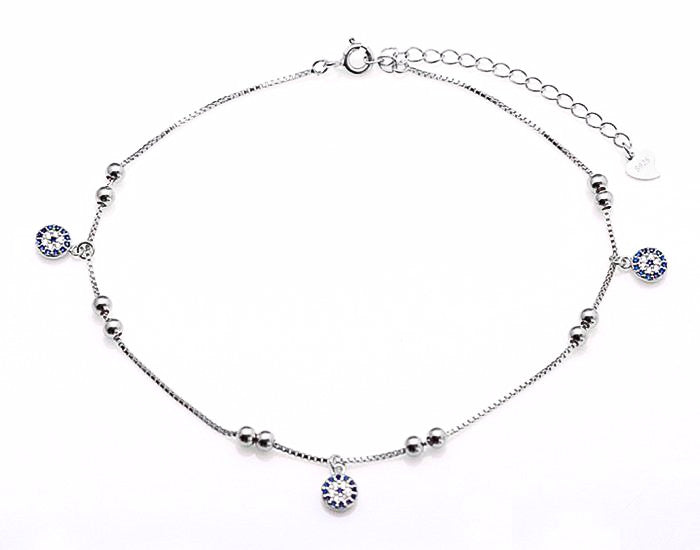 925 Sterling Silver Round Evil Eye Anklet Rhodium Plated - Mosaic Jewels