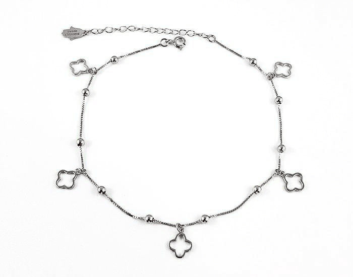 925  Silver Cutout Clover Anklet Rhodium Plated - Mosaic Jewels