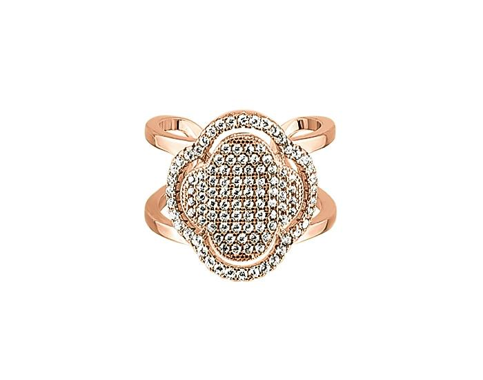 925 Silver Micro Clover Double Ring 14K Rose Gold Plate - Mosaic Jewels