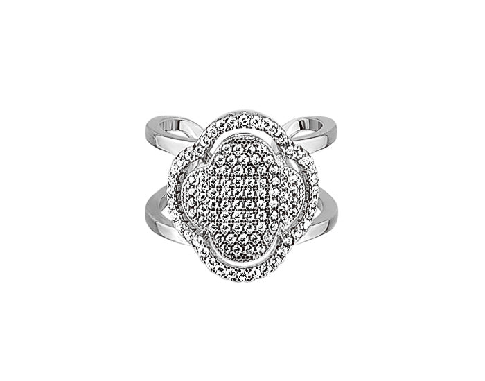 925 Silver Micro Clover Double Ring - Mosaic Jewels