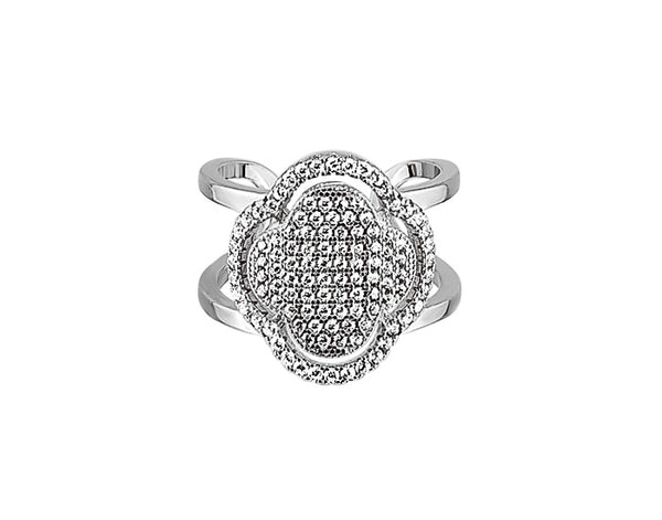 Sterling Silver Micro Clover Double Ring - Mosaic Jewels