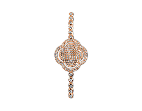 925 Silver Clover Tennis Bracelet 14K Rose Gold Plated - Mosaic Jewels