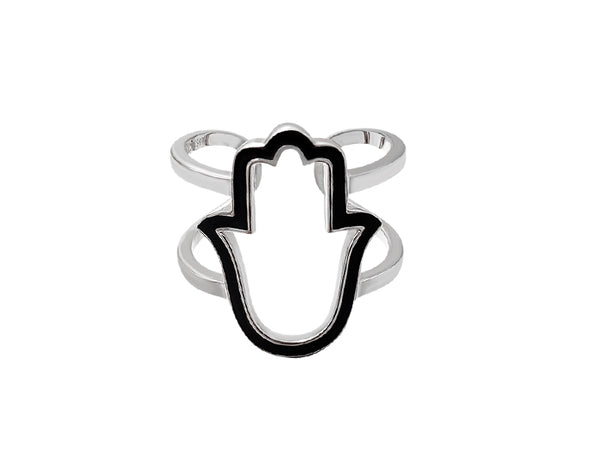 Sterling Silver Enamel Hamsa Double Band Ring - Mosaic Jewels