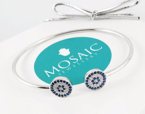 925 Silver Blue Eye Bangle Rhodium Plated - Mosaic Jewels