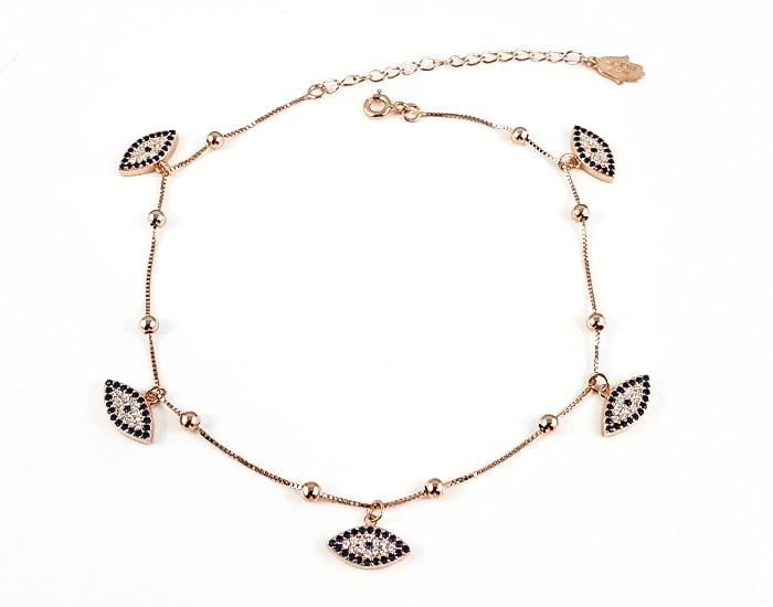 925 Sterling Silver Evil Eye Charms Anklet 14K Rose Gold Plated - Mosaic Jewels
