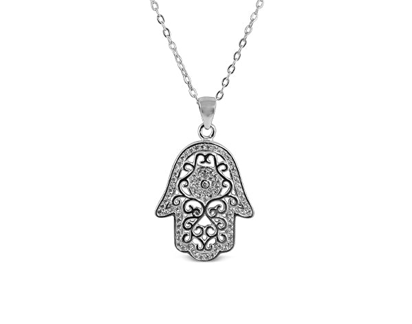 Sterling Silver Hamsa (Groove) Necklace Rhodium Plated - Mosaic Jewels