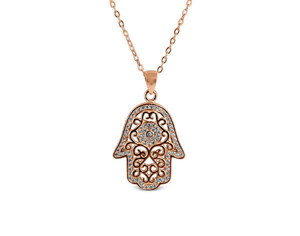 925 Silver Hamsa (Groove) Necklace 18K Rose Gold Plated - Mosaic Jewels