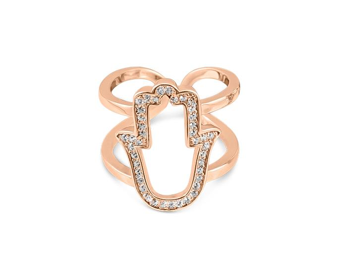 925 Silver Hamsa Ring 14K Rose Gold Plated - Mosaic Jewels