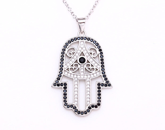 Sterling Silver Classic Hamsa Necklace Rhodium Plated (Black Stones) - Mosaic Jewels
