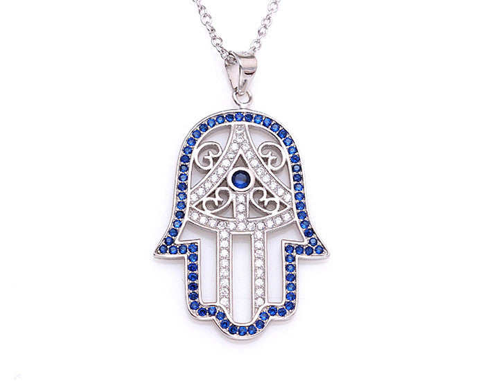 925 Silver Classic Hamsa Necklace Rhodium Plated (Blue Stones) - Mosaic Jewels