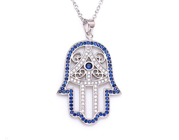 Sterling Silver Classic Hamsa Necklace Rhodium Plated (Blue Stones) - Mosaic Jewels