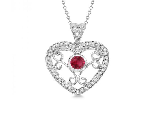 Sterling Silver Heart Necklace Rhodium Plated - Mosaic Jewels
