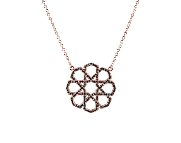 925 Silver Marrakesh Necklace Rose Gold & Black Cubic Zirconia - Mosaic Jewels