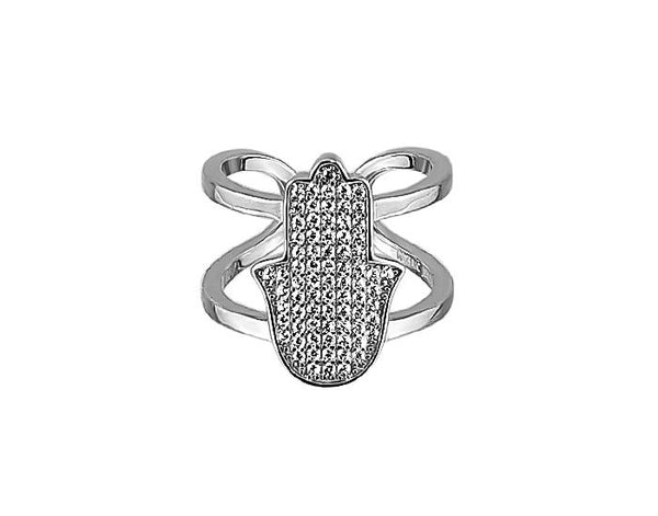 Sterling Silver Micro Hamsa Ring Double Band - Mosaic Jewels