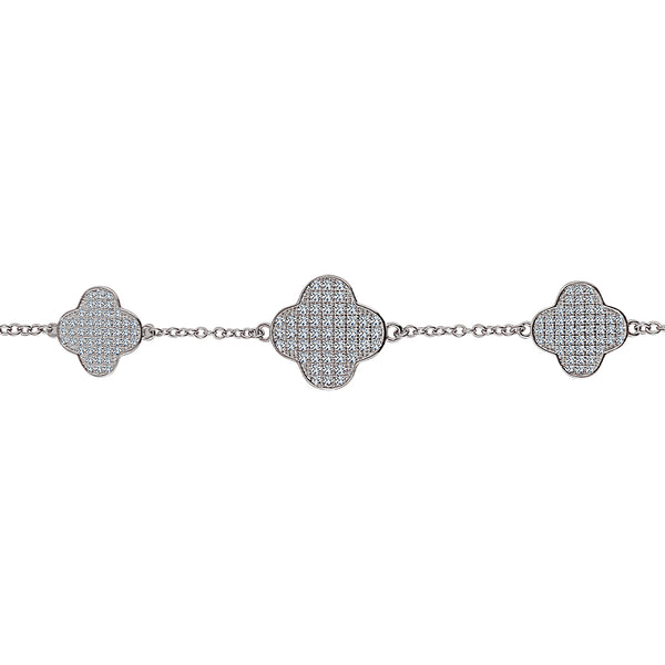 Sterling Silver Micro Pavé 3 Clover Bracelet (Chana Collection) - Mosaic Jewels
