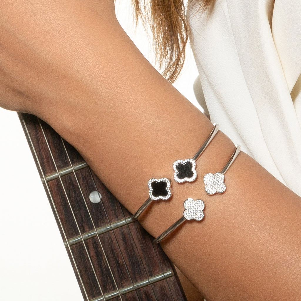 Sterling Silver Onyx Clover Bangle - Mosaic Jewels