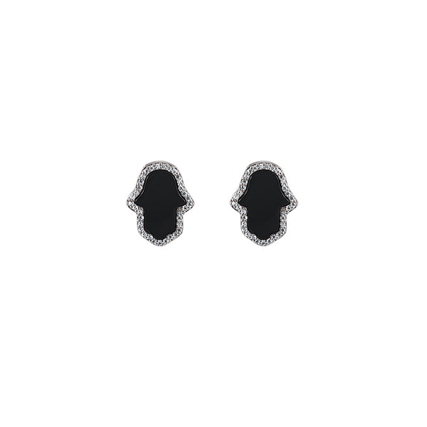 Sterling Silver Onyx Hamsa Earrings - Mosaic Jewels