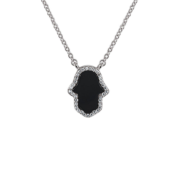 Sterling Silver Black Agate Hamsa Necklace - Mosaic Jewels