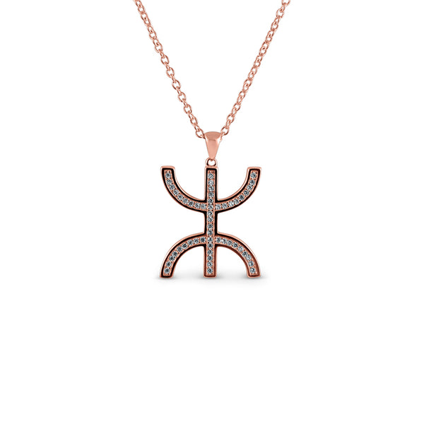 Sterling Silver AZA Sign Necklace 14K Rose Gold Plated - Mosaic Jewels