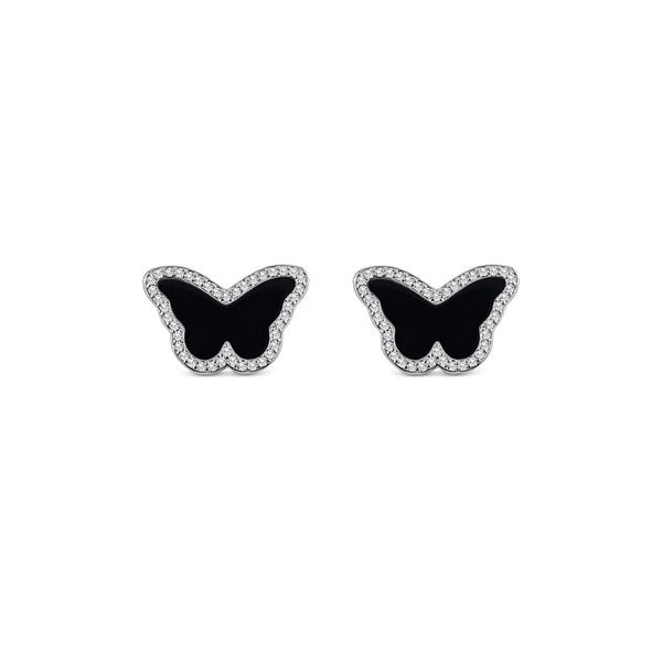 Sterling Silver Onyx Butterfly Earrings - Mosaic Jewels