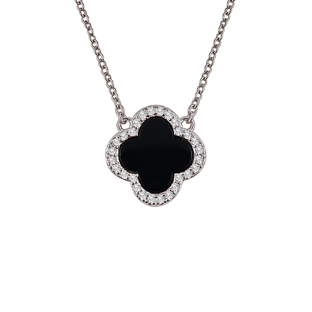 Sterling Silver Onyx Clover Necklace - Mosaic Jewels
