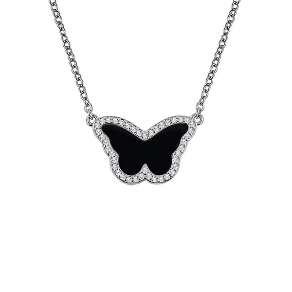 Sterling Silver Onyx Butterfly Necklace