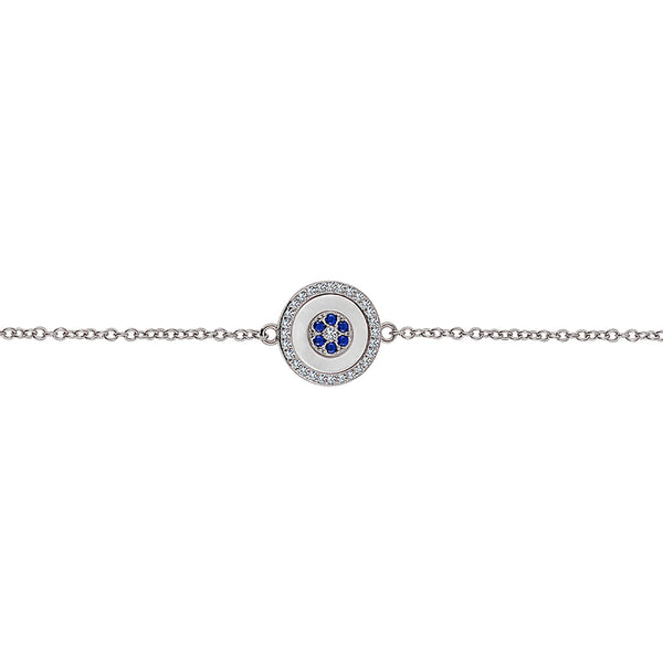 Sterling Silver Blue Eye Bracelet (Grace Collection) - Mosaic Jewels
