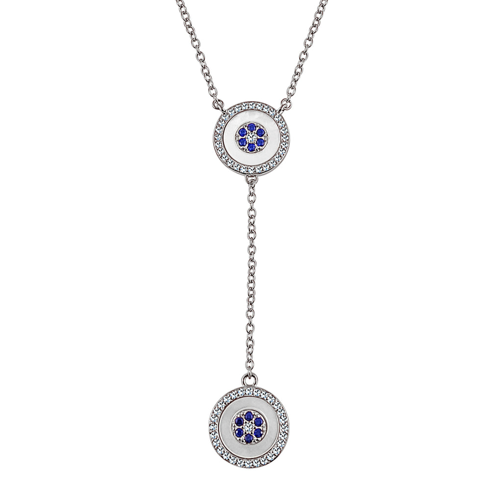 Sterling Silber Blue Eye Dangler Halskette (Grace Collection) - Mosaik Juwelen