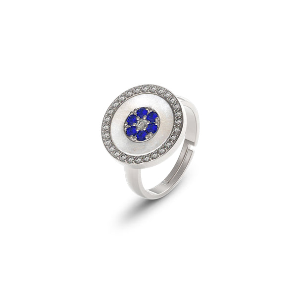 Sterling Silver Blue Eye Ring - Mosaic Jewels