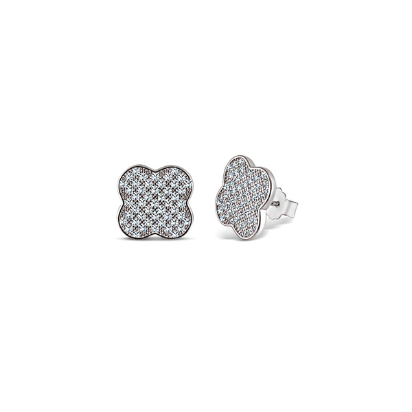 Sterling Silber Micro Pavé Klee Ohrringe (Chana Collection) - Mosaik Juwelen
