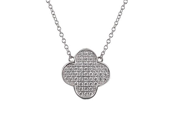 Sterling Silber Micro Pavé Clover Halskette (Chana Collection) - Mosaik Juwelen