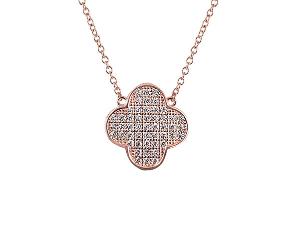 Sterling Silver Pavé Clover Necklace (Chana) 14K Rose Gold - Mosaic Jewels