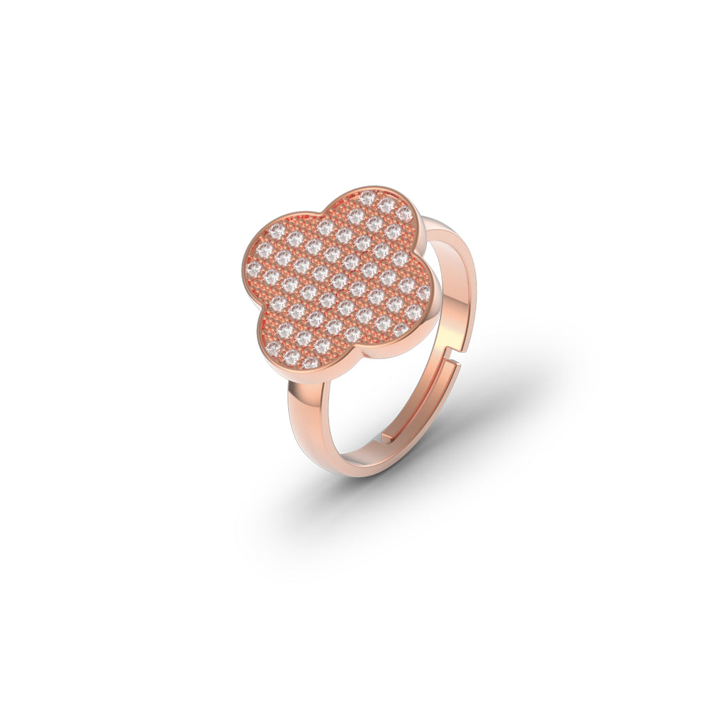 Sterling Silber Micro Clover Ring