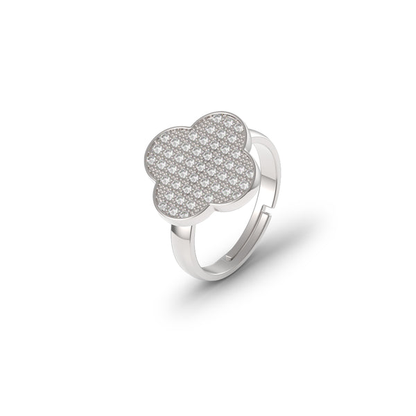 Sterling Silver Micro Clover Ring - Mosaic Jewels