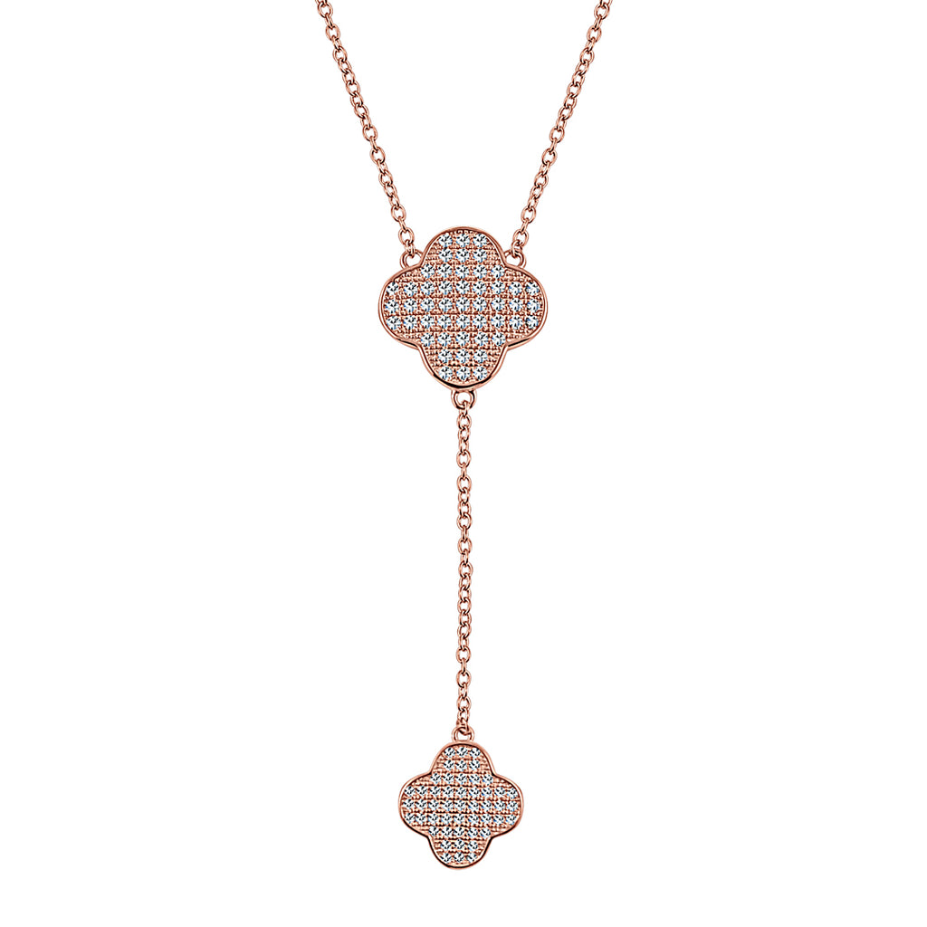Sterling Silber Micro Pavé Clover Dangler Halskette (Chana Collection) - Mosaik Juwelen