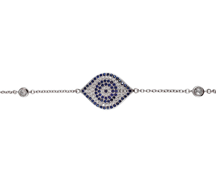 925 Sterling Silver Oval Eye Bracelet Rhodium Plated - Mosaic Jewels