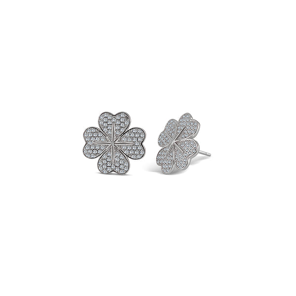Sterling Silver Four Leaf Clover Hearts Earrings - Mosaic Jewels