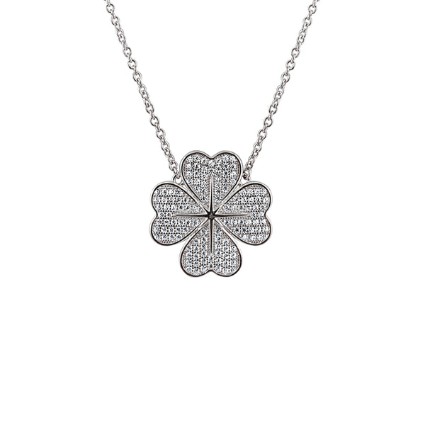 Sterling Silver Four Leaf Clover Hearts Necklace - Mosaic Jewels