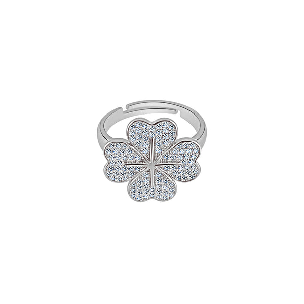 Sterling Silver Four Leaf Clover Hearts Ring - Mosaic Jewels