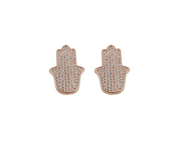 925 Silver Pavé Hamsa Earrings 14K Rose Gold Plated - Mosaic Jewels