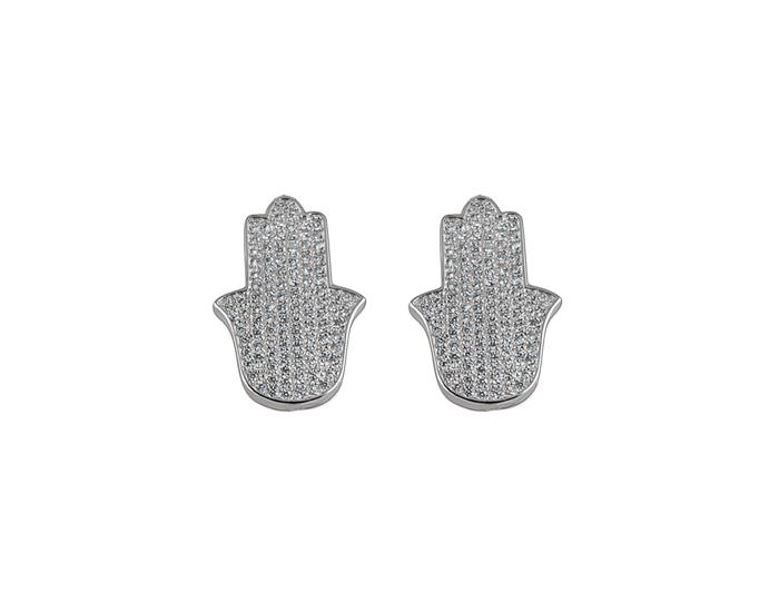 925 Silver Pavé Hamsa Earrings Rhodium Plated - Mosaic Jewels