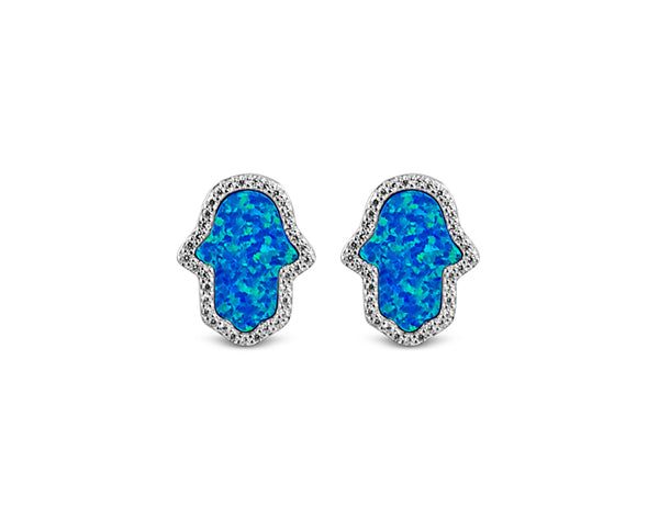 925 Silver Opal Blue Hamsa Earrings Rhodium Plated - Mosaic Jewels