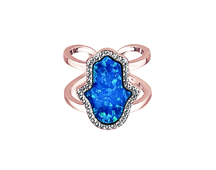 Sterling Silver Opal Blue Hamsa Double Band Ring Rose Gold - Mosaic Jewels