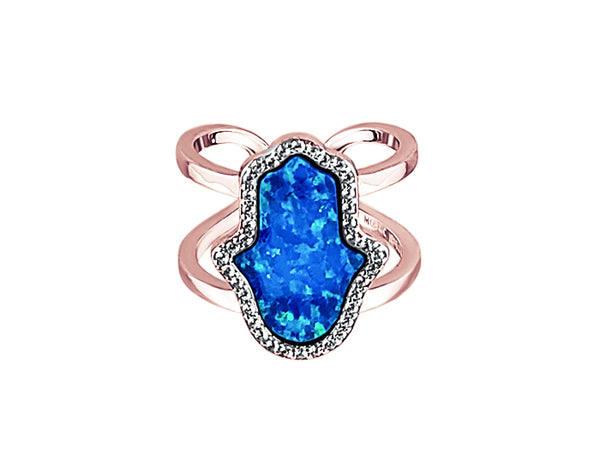 925 Silver Opal Blue Hamsa Double Band Ring Rose Gold - Mosaic Jewels